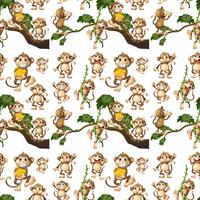 Design de fond transparente avec des singes mignons