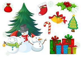Thème de Noël avec bonhomme de neige et cadeaux vecteur