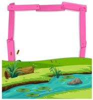 Paysage de rivière et cadre en bois rose