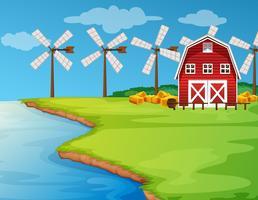 Scène avec des moulins à vent sur le terrain vecteur