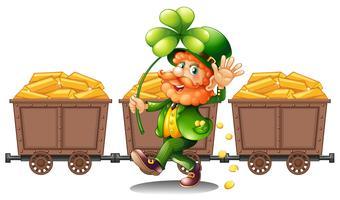 Leprechaun avec trois charrettes d'or vecteur