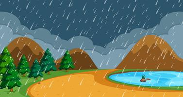Plage en saison des pluies vecteur