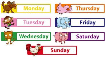 Jours de la semaine avec des animaux sur les panneaux