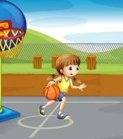 Fille jouant au basket dans la cour vecteur