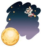 Astronaute volant dans l'obscurité