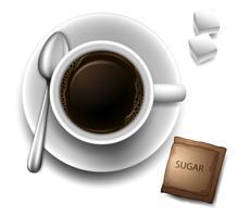 Une vue de dessus d'une tasse avec un café vecteur