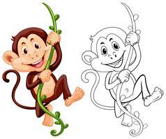 Dessin animalier pour singe sur vigne vecteur