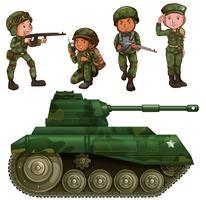 Un groupe de soldats vecteur