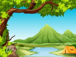 Camping en nature paysage vecteur