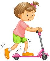 Heureuse fille jouant un scooter