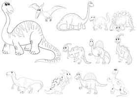 Contour d'animaux pour différents types de dinosaures vecteur