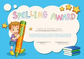 Modèle de récompense d'orthographe avec enfant et livre en arrière-plan