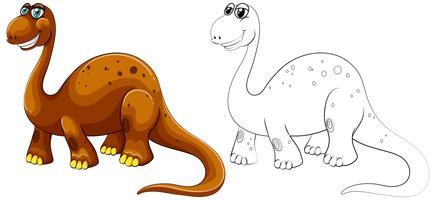 Contour animal pour dinosaure à long cou vecteur