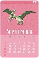 Modèle de calendrier pour septembre avec ptérosaure vecteur