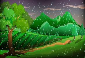 Scène de forêt avec arbres verts et montagnes