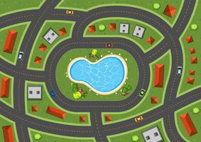 Scène aérienne avec des routes et des maisons
