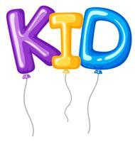 Baloons pour mot kid vecteur