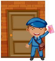 Facteur livrant une lettre à la porte