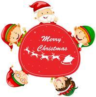 Modèle de carte de Noël avec le père Noël et les lutins