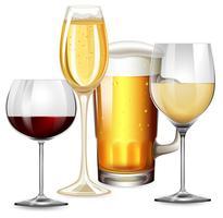 Ensemble de boissons alcoolisées vecteur