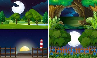 Quatre scènes de nuit vecteur