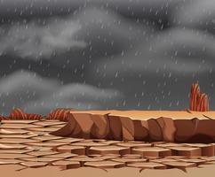 Il pleut sur les terres arides vecteur