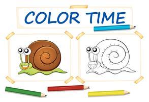 Modèle de coloration avec escargot mignon vecteur