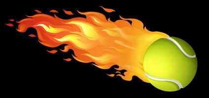 Balle de tennis enflammée sur fond noir