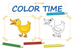 Modèle de coloration avec petit canard