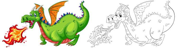 Doodle animal pour dragon soufflant le feu vecteur