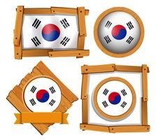 Drapeau de la Corée du Sud dans différents cadres vecteur