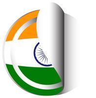 Modèle d'autocollant pour le drapeau de l'Inde vecteur
