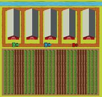 Scène aérienne de granges et champ