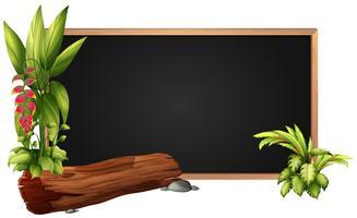 Conception du cadre avec bûche et feuilles vecteur