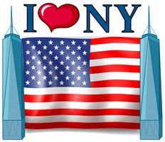 J'aime le signe de New York avec le drapeau américain vecteur