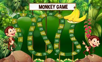 Modèle de jeu avec des singes en forêt vecteur