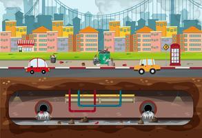 Scène de pollution de la grande ville moderne vecteur
