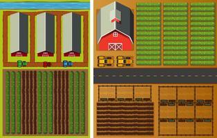 Vue de la ferme du haut avec des légumes et des granges vecteur