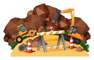 Scène avec des tracteurs travaillant sur un chantier de construction vecteur