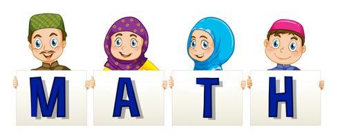 Famille musulmane tenant une pancarte pour le mot math vecteur