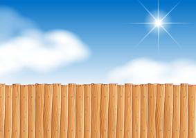 Scène avec clôture en bois dans la journée vecteur
