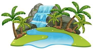 Scène avec cascade et rivière vecteur