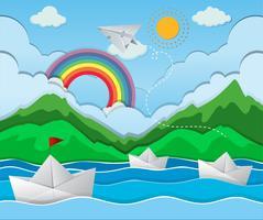 Scène de rivière avec bateau en papier flottant vecteur