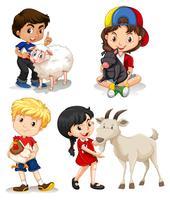 Garçons et filles avec des animaux de la ferme