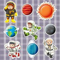 Conception d'autocollant avec astronaunts et planètes vecteur