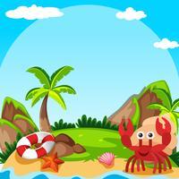 Scène de fond avec le crabe ermite sur l'île vecteur