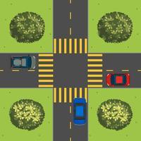Vue aérienne, de, voitures, à, intersection