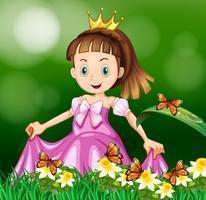 Princesse dans le jardin de fleurs vecteur