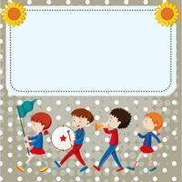 Modèle de bordure avec des enfants dans le groupe