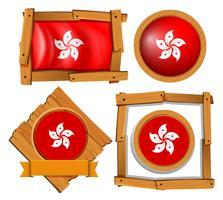 Drapeau de Hong Kong sur des cadres ronds et carrés vecteur